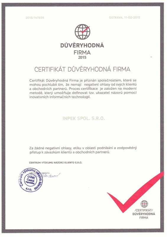 Certifikát DF